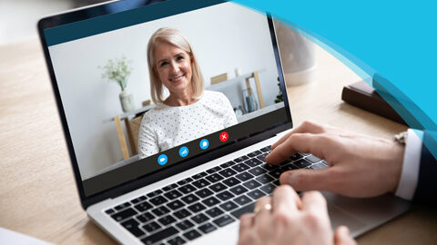 Getting Started | Canadian Hard Of Hearing Association - Showing individual video chatting on a laptop