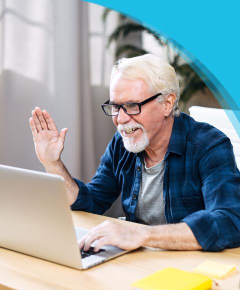 FAQs | Canadian Hard Of Hearing Association - Man waving hi to someone on laptop screen